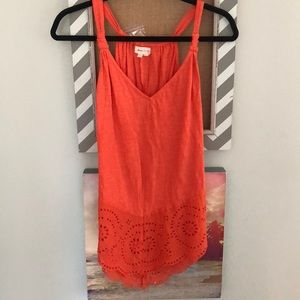 Anthropologie coral perforated tank
